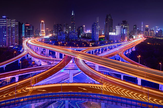 Ночные города с высоты зданий