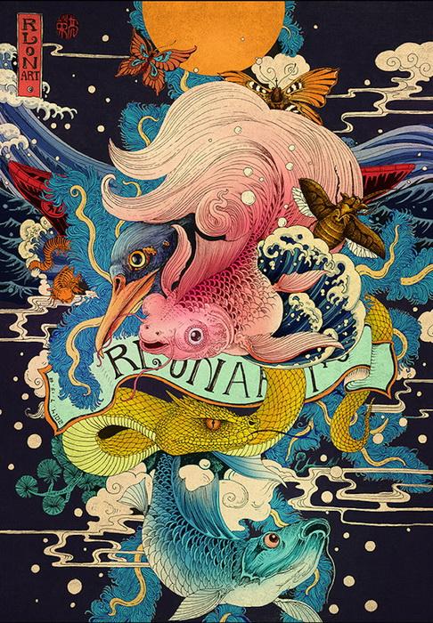 Захватывающие рисунки в традициях азиатской живописи от RLoN Wang