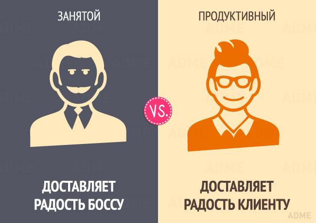 Отличия занятого человека от продуктивного