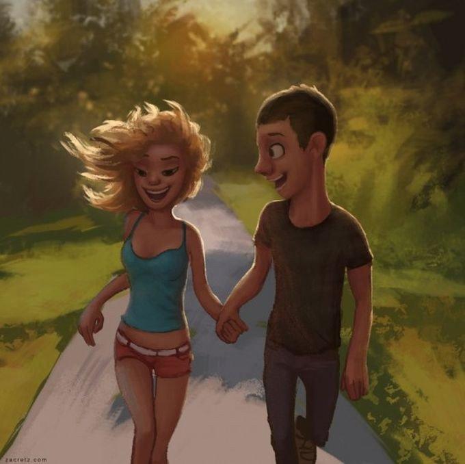 Теплые и добрые романтические иллюстрации от Zac Retz