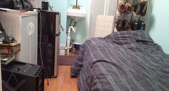 9 квадратных метров на Манхэттене за 1100 долларов в месяц в гифках