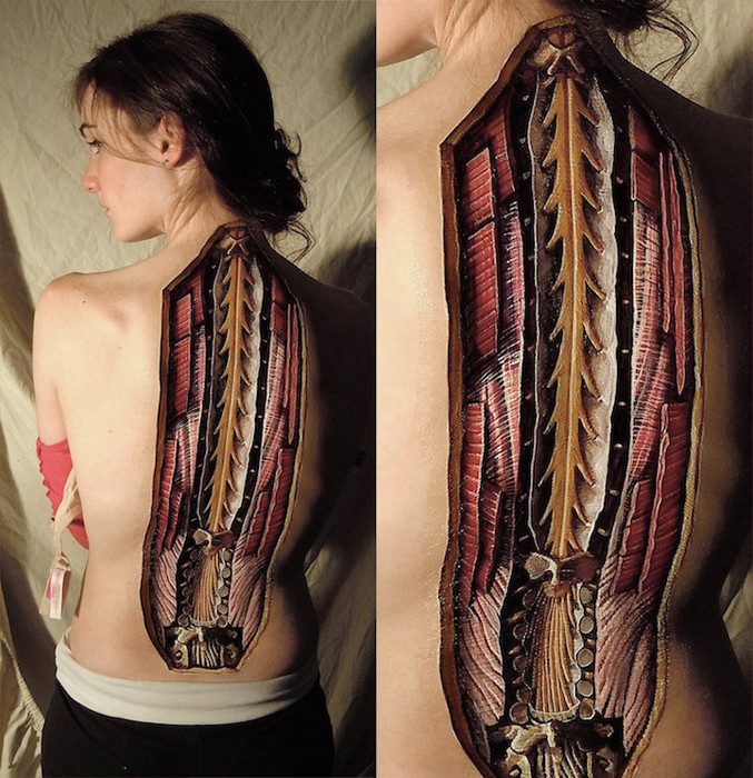 Анатомические иллюстрации на телах от Дэнни Квирка