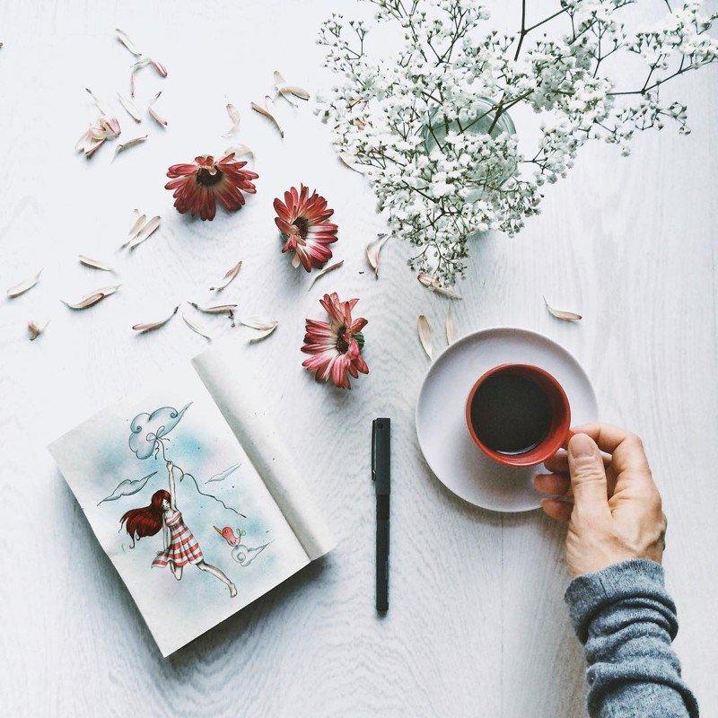 Утренние кофейные иллюстрации от Cinzia Bolognesi