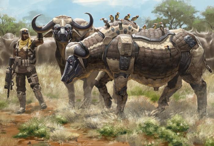 Животные-роботы на постапокалиптических иллюстрациях Robert Chew