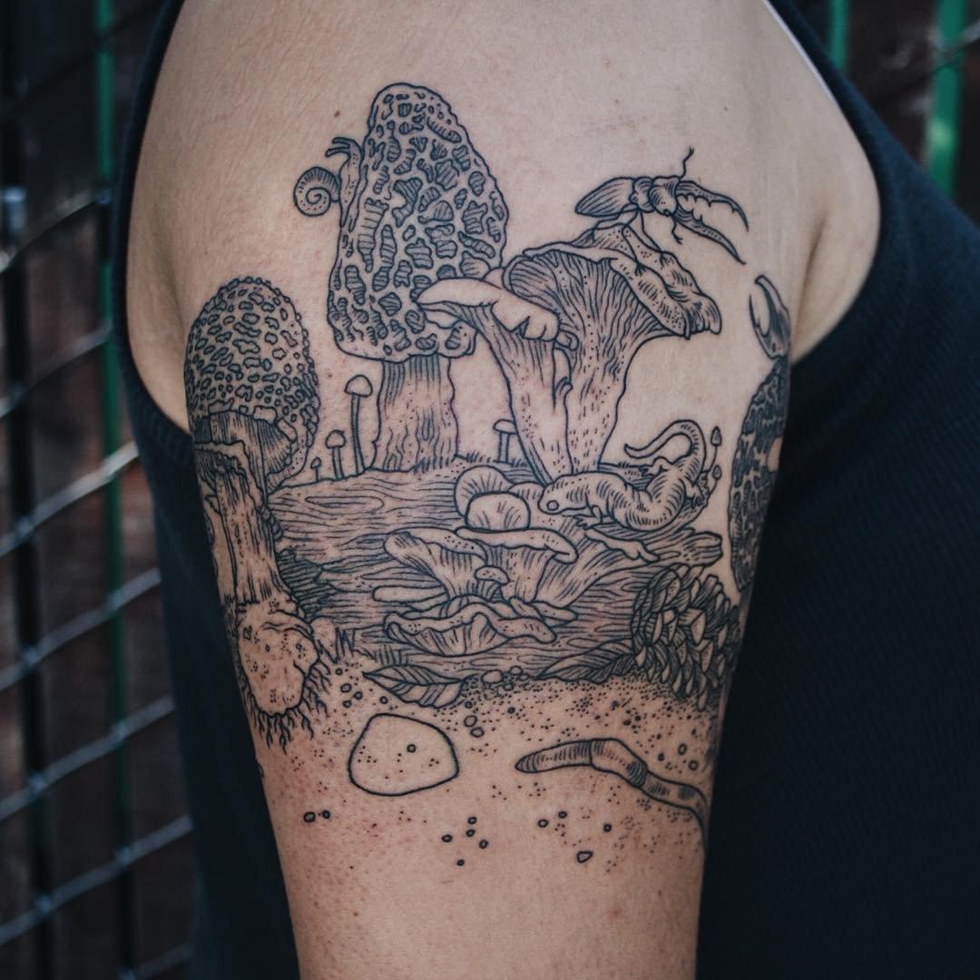Татуировки в стиле рисунков из печатных изданий от Пони Рейнхардт