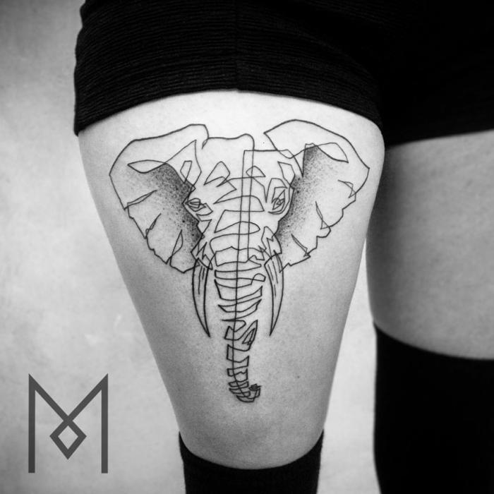 Удивительные татуировки в одну линию от Мо Ганджи