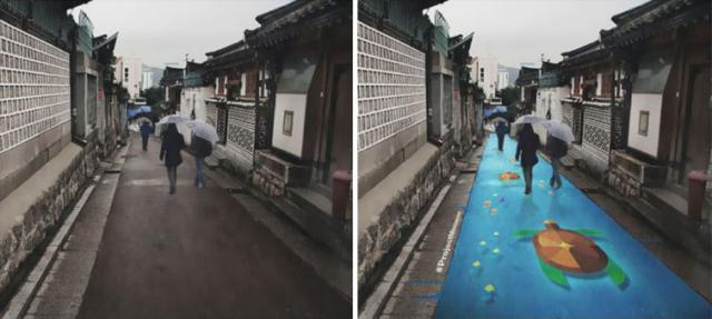 Яркие рисунки на дорогах, которые видны только во время дождя