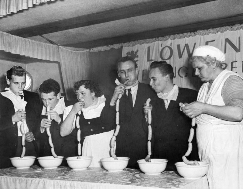 Конкурсы по скоростному поеданию пищи в 1915-1987 годы
