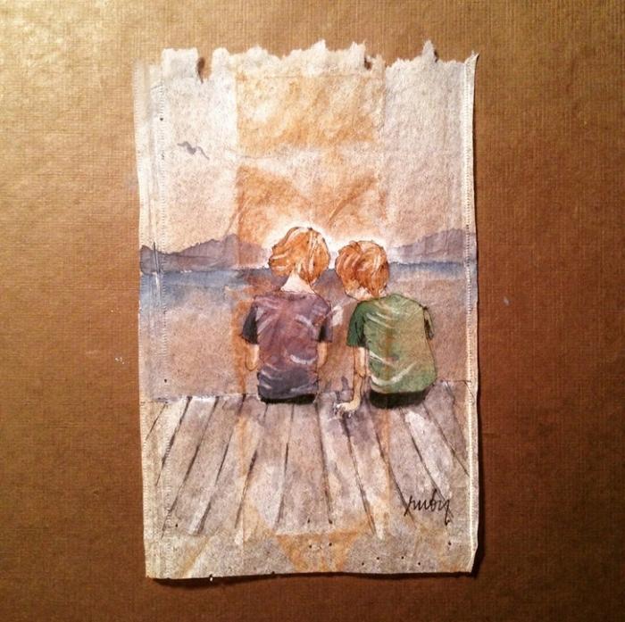Картины на чайных пакетиках