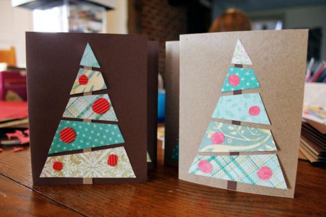 Открытки треугольники на новый год, росписями
