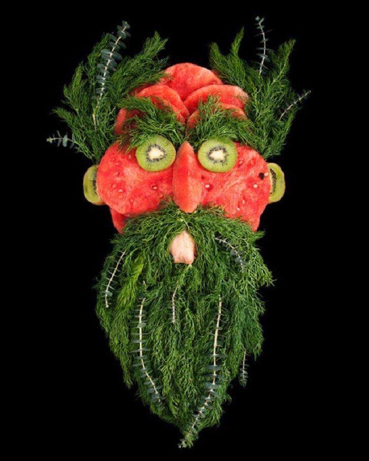 Свежие лица из фруктов и овощей от Эмили Драйден