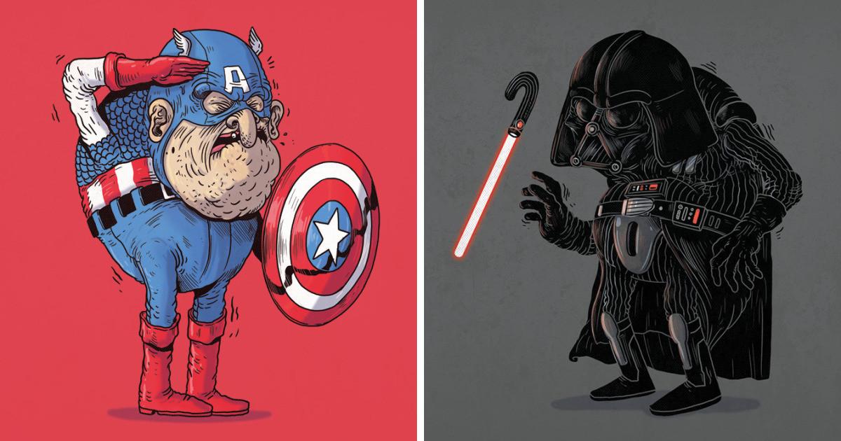 Персонажи поп-культуры в старости на иллюстрациях Алекса Солиса