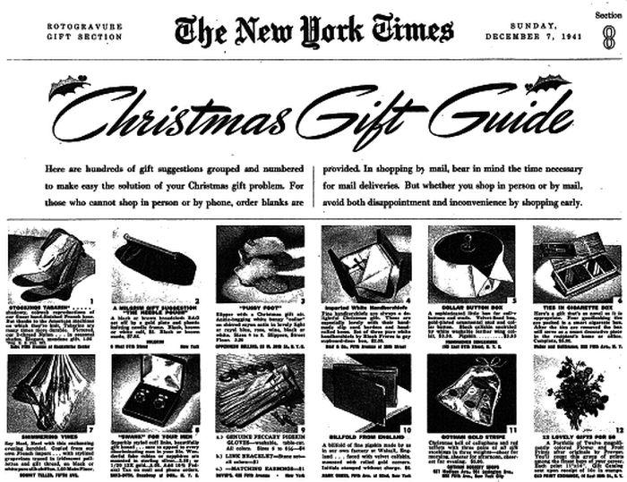 Оригинальные рождественские подарки 1941 года от газеты The New York Times