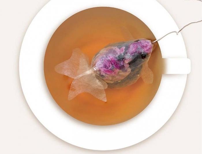 Креативные чайные пакетики - золотые рыбки