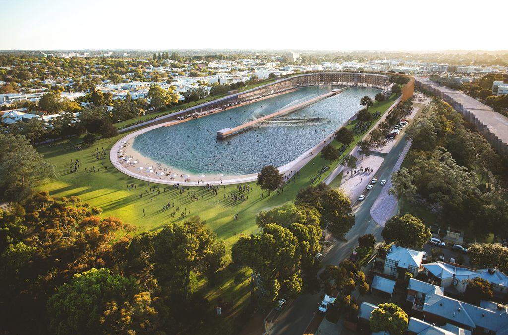 Трансформация футбольного стадиона в волновой бассейн для серфинга