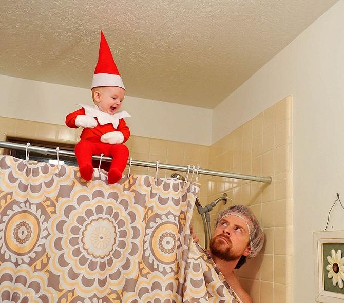 Папа превратил ребенка в помощника Санты в новогодней фотосессии