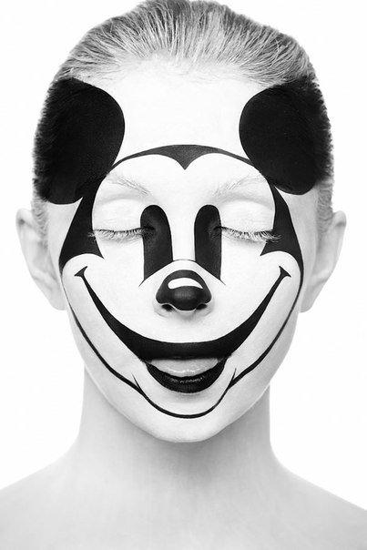 Боди-арт на лицах с оптическими иллюзиями