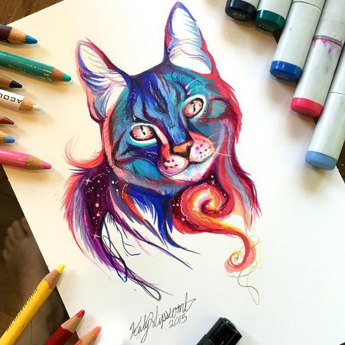 Эмоциональные рисунки животных от Кэти Липскомб
