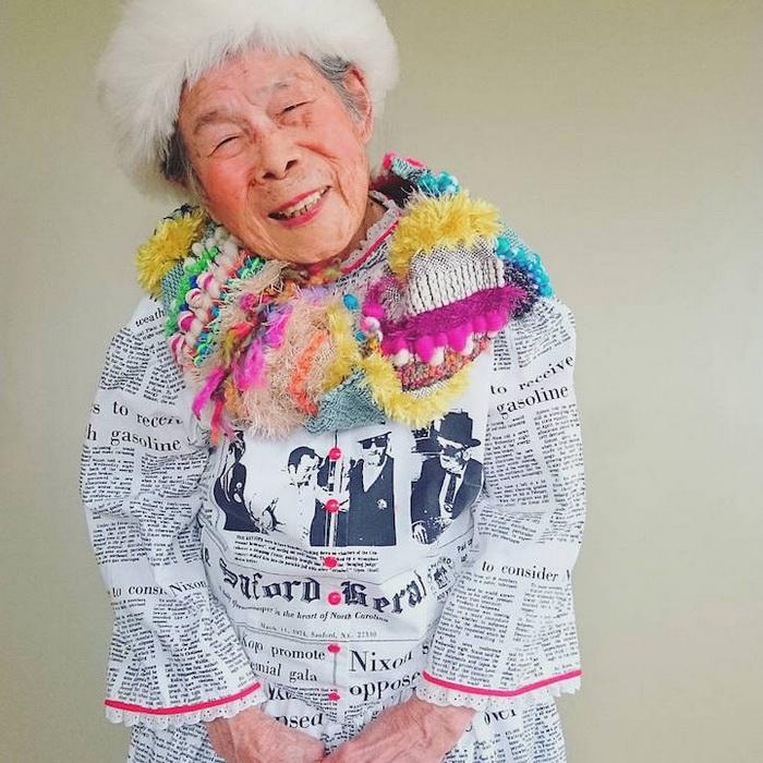 93-летняя бабушка-фотомодель рекламирует одежду внучки-модельера