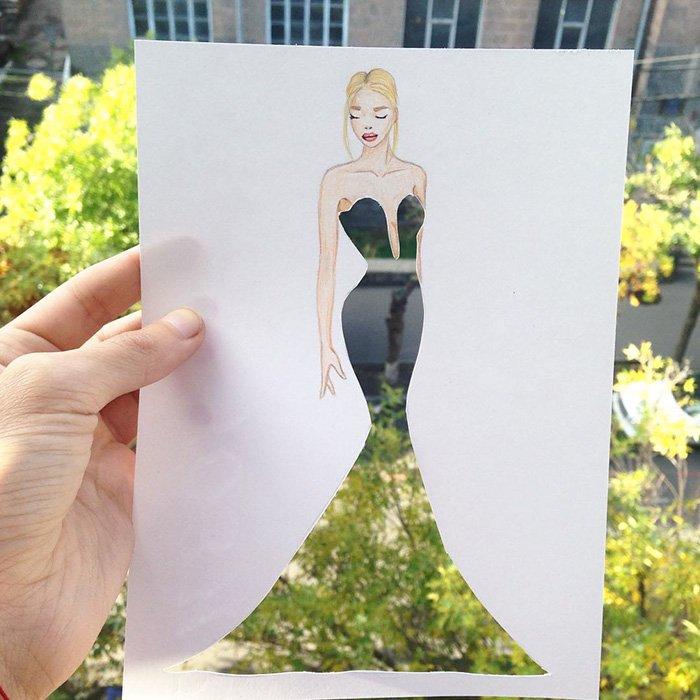 Модные силуэты из бумаги от фэшн-иллюстратора Эдгара Артиса