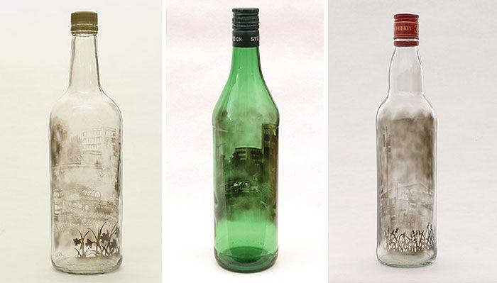 Рисунки дымом внутри бутылок