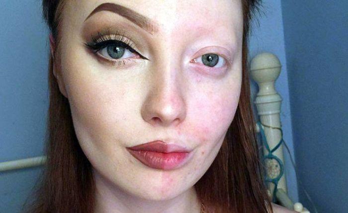 Любительница косметики поделилась своими фото без макияжа