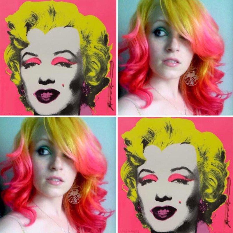 Парикмахер окрашивает волосы клиентов, вдохновляясь знаменитыми картинами