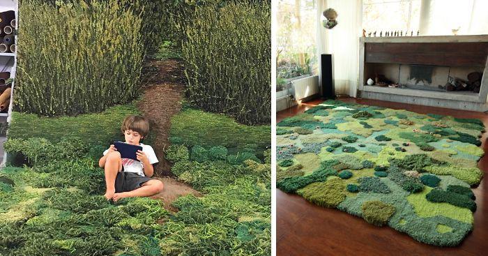 Необычные ковры: художница создает настоящие лесные поляны для пола