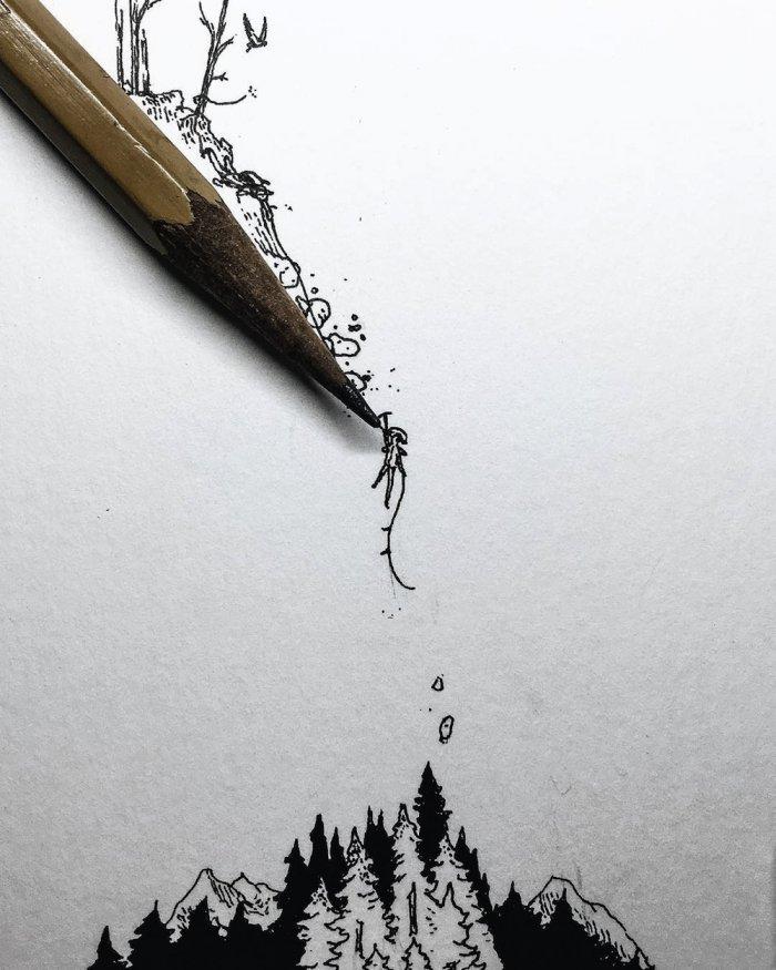 Миниатюрные карандашные рисунки от Кристиана Уотсона