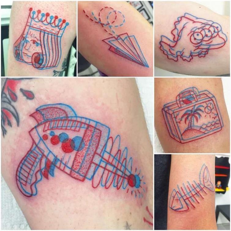 3D-татуировки, выполненные в технике анаглифа