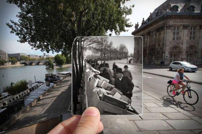 Прогулка по улицам Парижа с ретро снимками