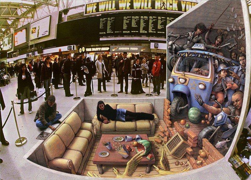 Впечатляющие 3D рисунки на асфальте от Курта Вернера