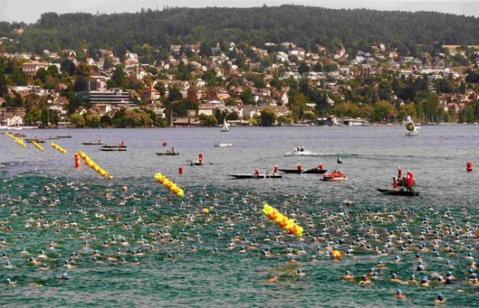 Массовый заплыв в голубых шапочках на Цюрихском озере