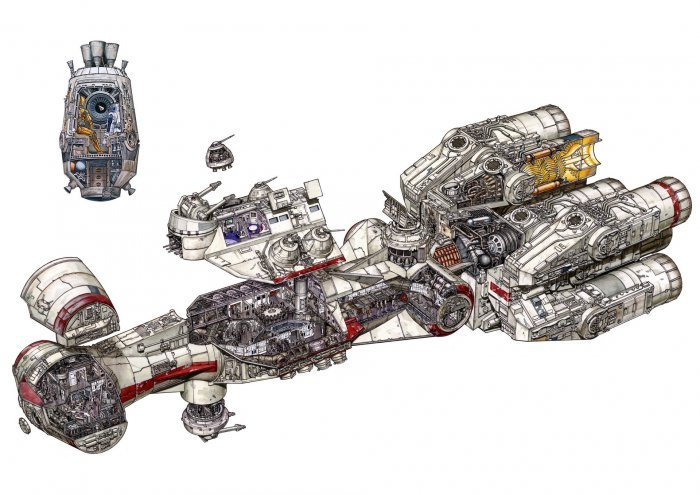 Детализованные иллюстрации транспортных средств из Звёздных войн