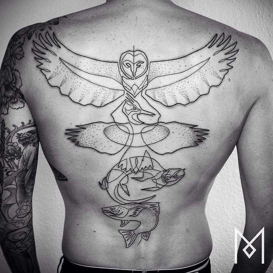 Минималистичные татуировки в одну линию от Мо Ганджи