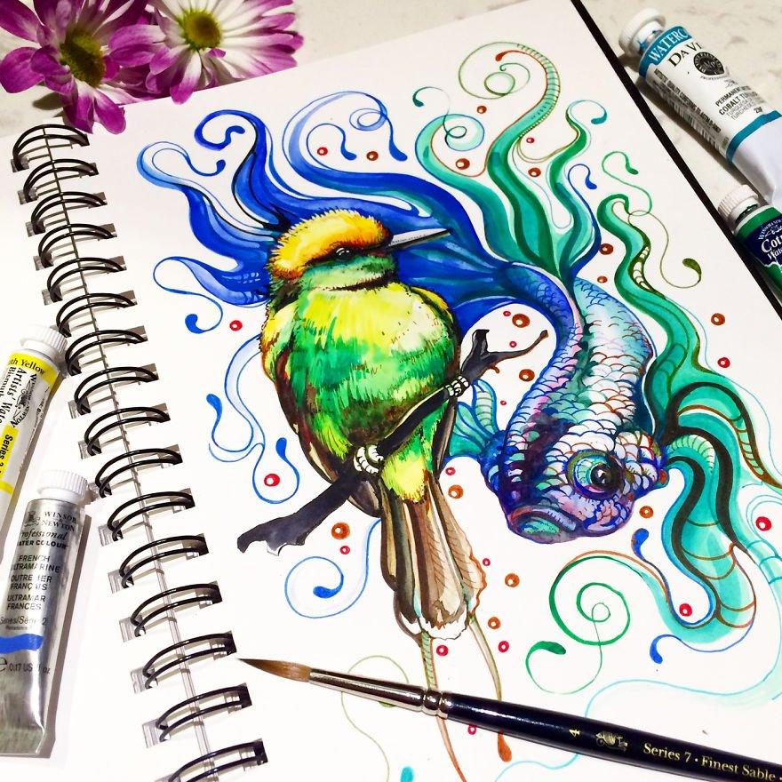 Красочные образы из тетради для рисования Анны Буккьярелли