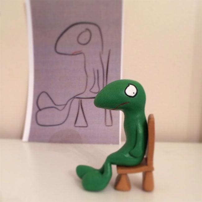 Художница превращает детские каракули в реальные статуэтки