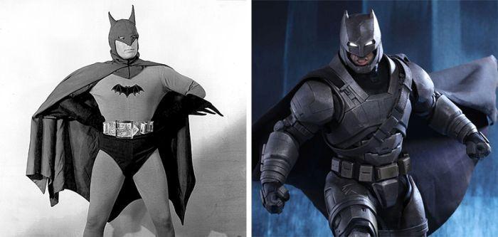 Известные супергерои тогда и сейчас