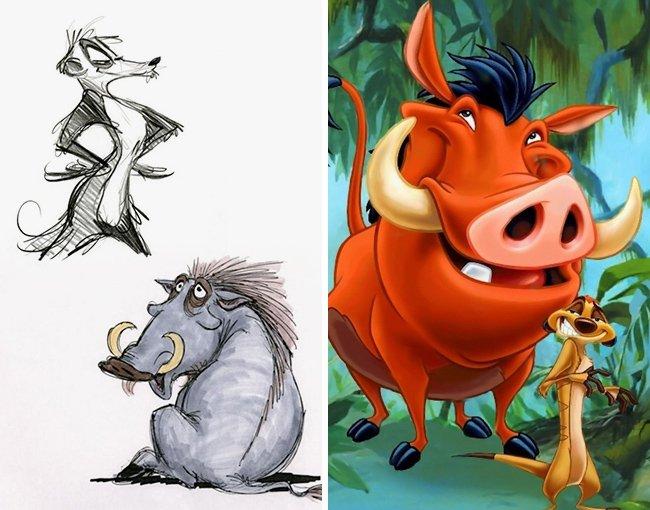 Как выглядели диснеевские персонажи на первых эскизах