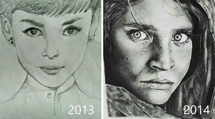 Рисунки одних и тех же художников с разницей во времени