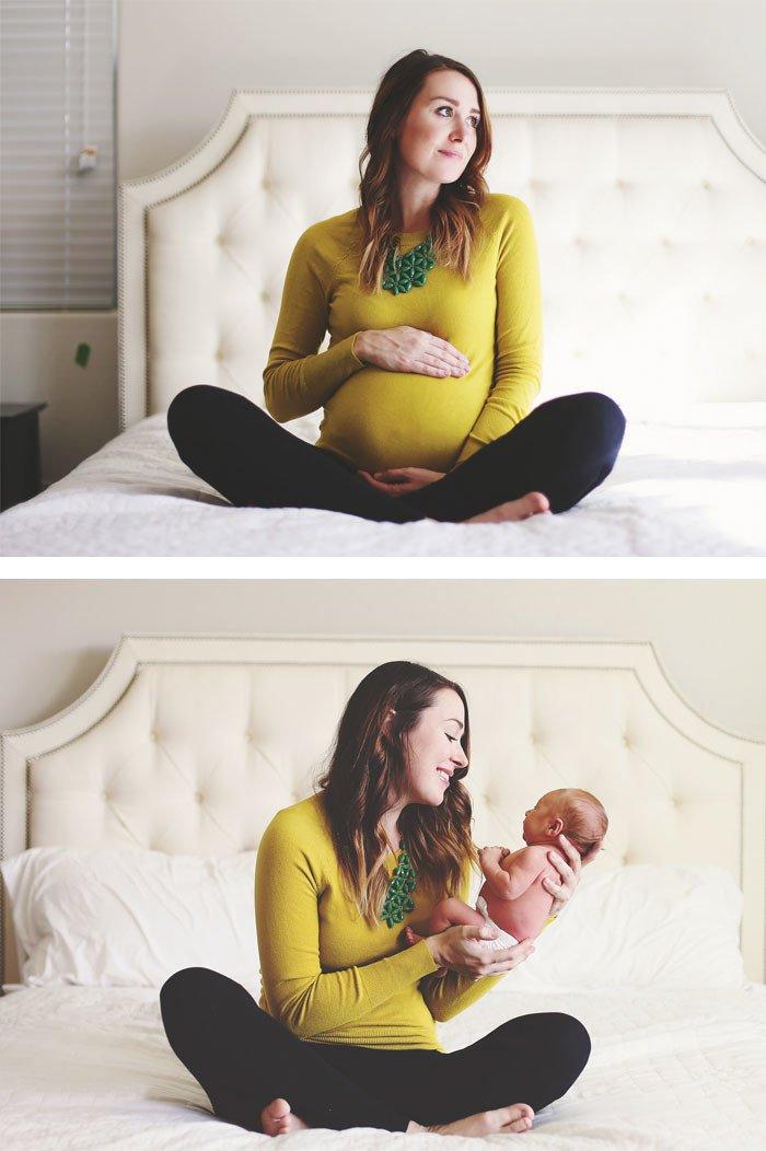 Прекрасные фотографии мамочек до и после рождения малыша