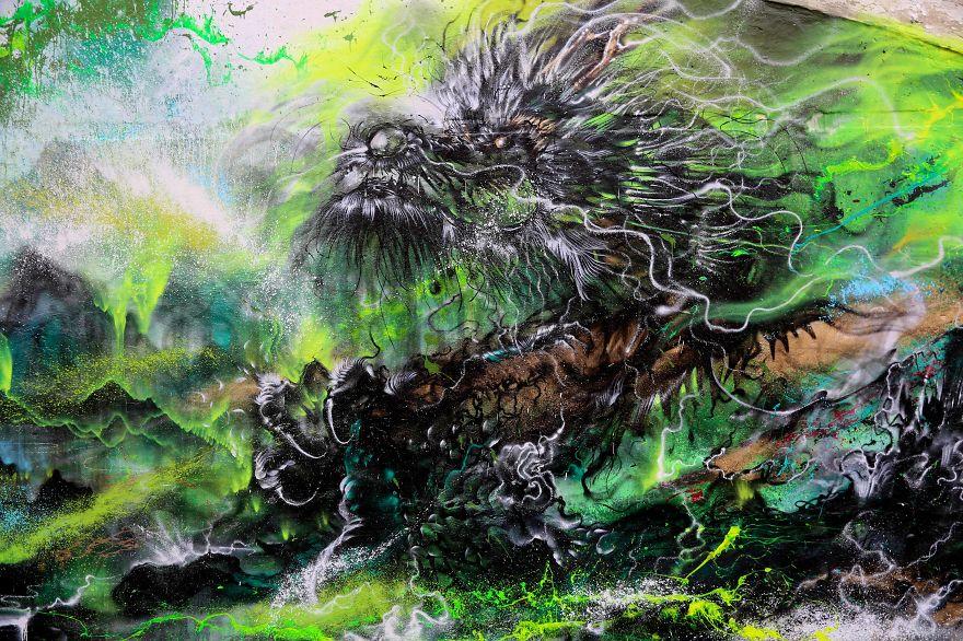 Смесь китайского искусства и граффити от Чена Йингжи