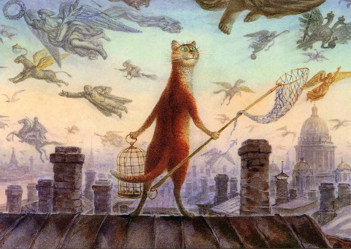 Питерские коты в акварели Владимира Румянцева