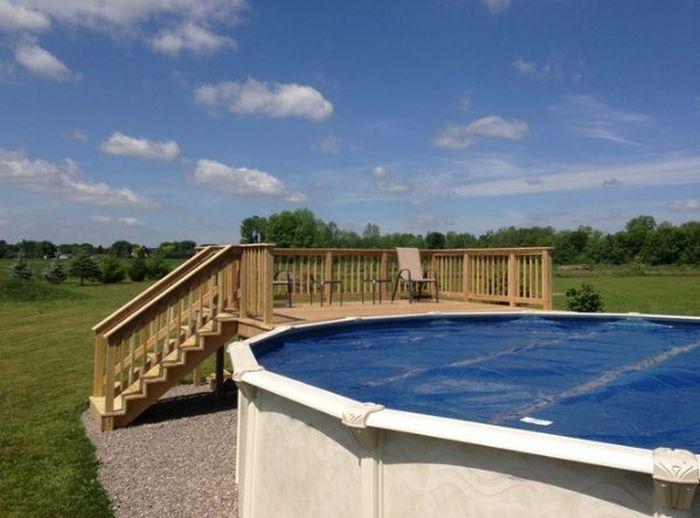 Деревянная терраса для бассейна своими руками