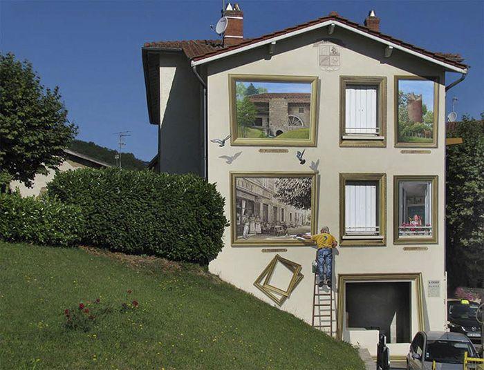 Французский художник превращает стены зданий в произведения искусства