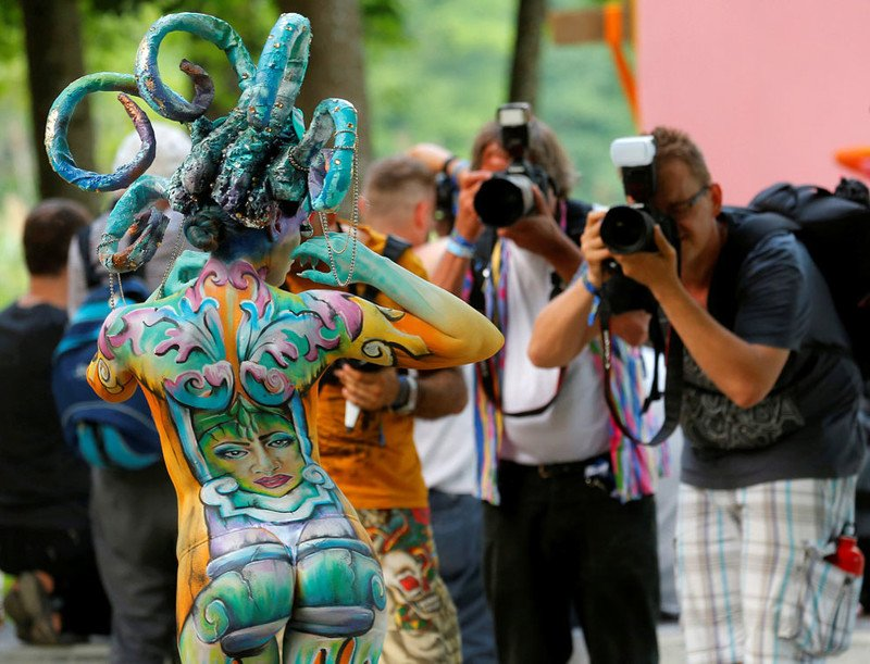 Живые картины на фестивале боди-арта в Австрии