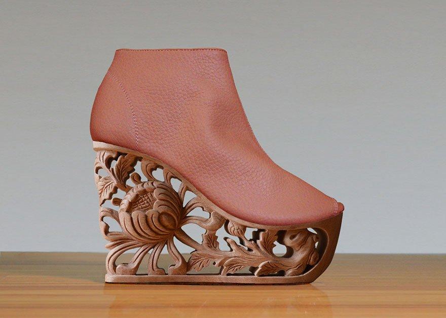 Обувь на деревянной резной платформе Saigon Socialite