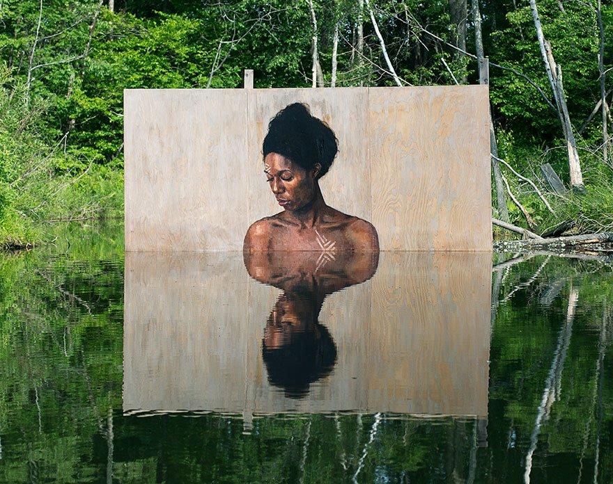 Уличные рисунки от Шона Йоро, взаимодействующие с водой