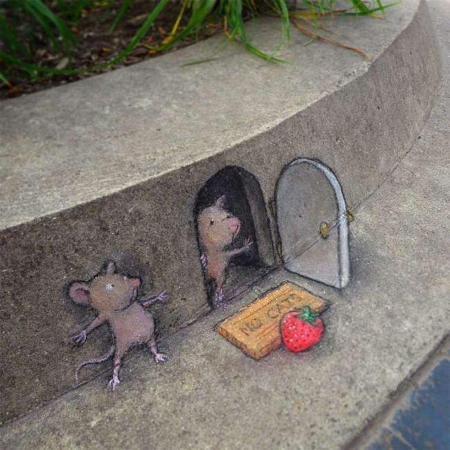 Забавные уличные рисунки Дэвида Зинна