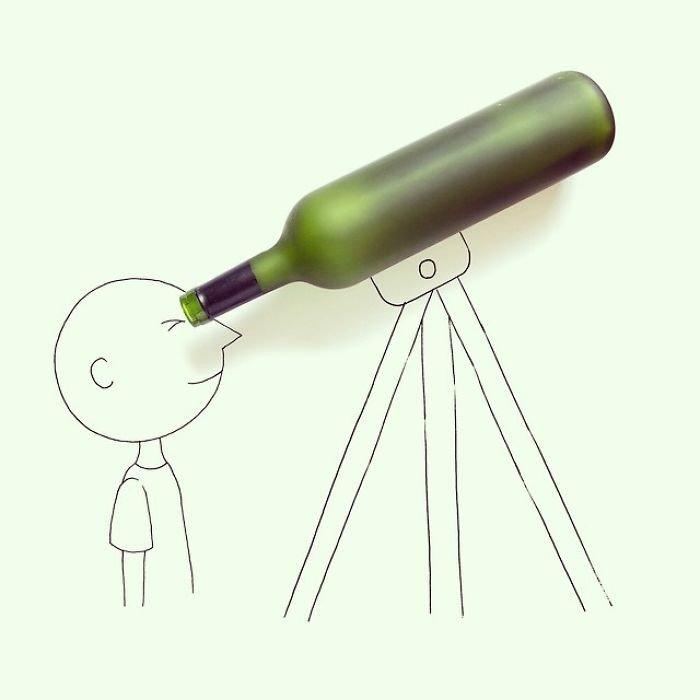 Художник превращает предметы в часть иллюстраций